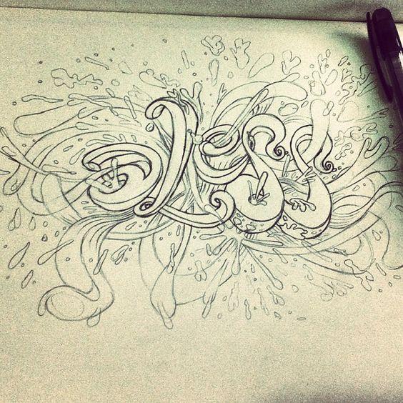 "@alessruiz's photo: ""#alessruiz #picadillo #sketch #font #type #Typography #design #ink #illustration #artwork #art #graphic #pencil"""