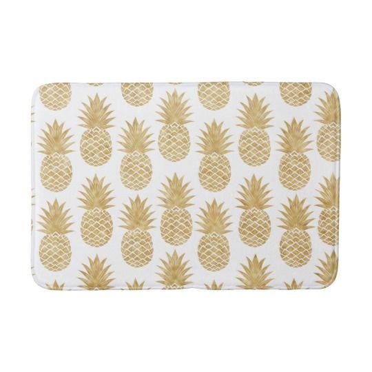 Elegant Tropical White Gold Pineapple Pattern Bath Mat Zazzle Com Patterned Bath Mats Pineapple Pattern Gold Pineapple