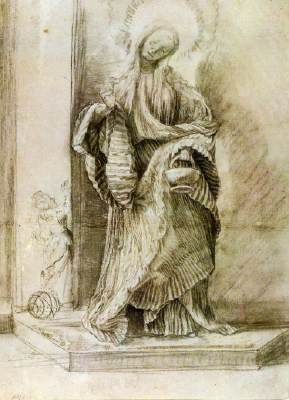 Matthias Grunewald St Dorothy with the Basket of Flowers c. 1520 Black chalk, gray watercolour, heightened with white, 358 x 256 mm Staatliche Museen, Berlin St Dorothy, Virgin and Martyr, died c. 300-310. She was sent to her death by Fabritius, governor of Caesarea in Cappadocia, for refusing to marry or worship idols. On her way to martyrdom, a young lawyer named Theophilus asked her jestingly to bring him some apples and roses from the Garden of Paradise. Dorothy