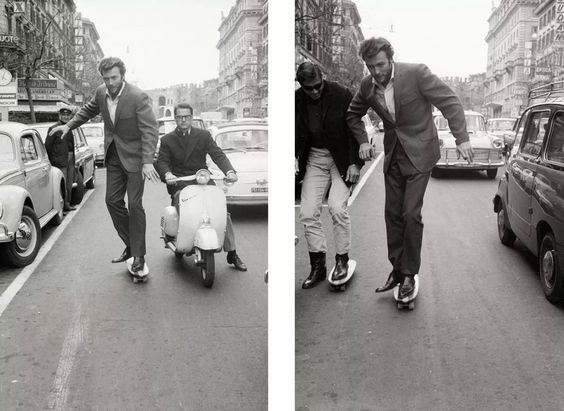 Clint Eastwood is skateboarding.