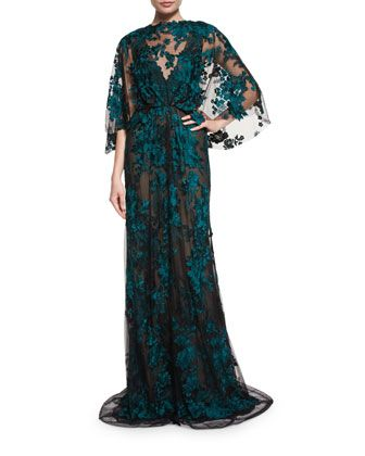 Embroidered+Capelet+Illusion+Gown,+Black/Forest+Green+by+Monique+Lhuillier+at+Bergdorf+Goodman.