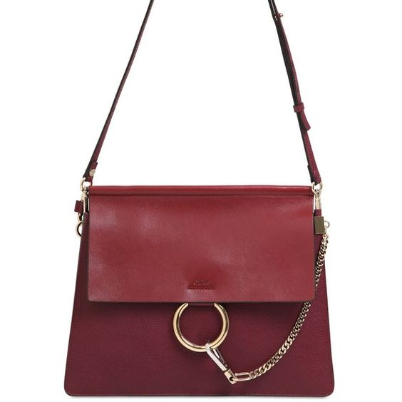 chloe red bag - CHLOE\u0026#39; Medium Faye Grained Leather Shoulder Bag - Wine Purple ...