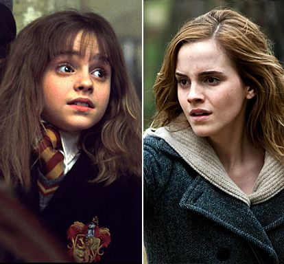 Harry Potter Stars: Then & Now: Emma Watson as Hermione Granger  Left: In 2001's Harry Potter and the Philosopher's Stone and Right: In 2010's Harry Potter and the Deathly Hallows: Part 1