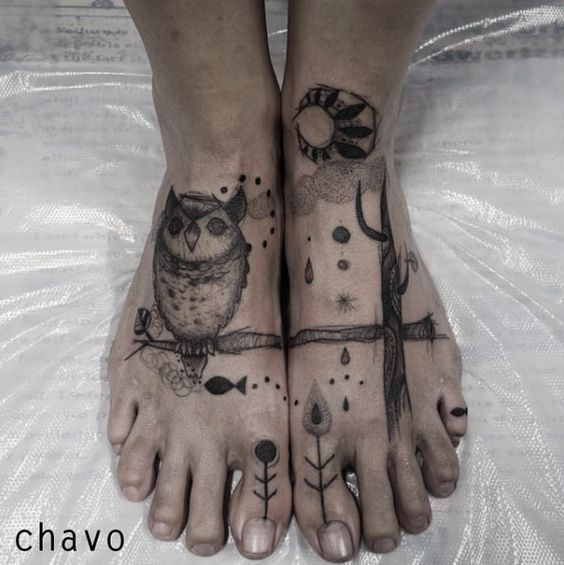 Owl Foot Tattoo by Chisato Chavo