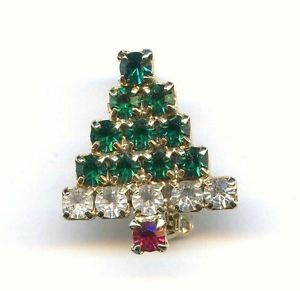 "Vtg Small Christmas XMAS Tree Rhinestone Gold Tone Brooch Pin 13/16"" Tall"