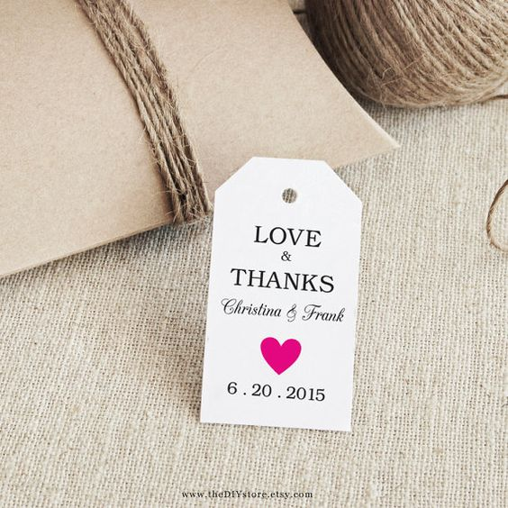 Favor Tag Printable, 100% Text Editable, Col#21 Hot Pink, SMALL Tag Size, INSTANT Digital Download, Gift Tags, Thank You Tag, Wedding Tags