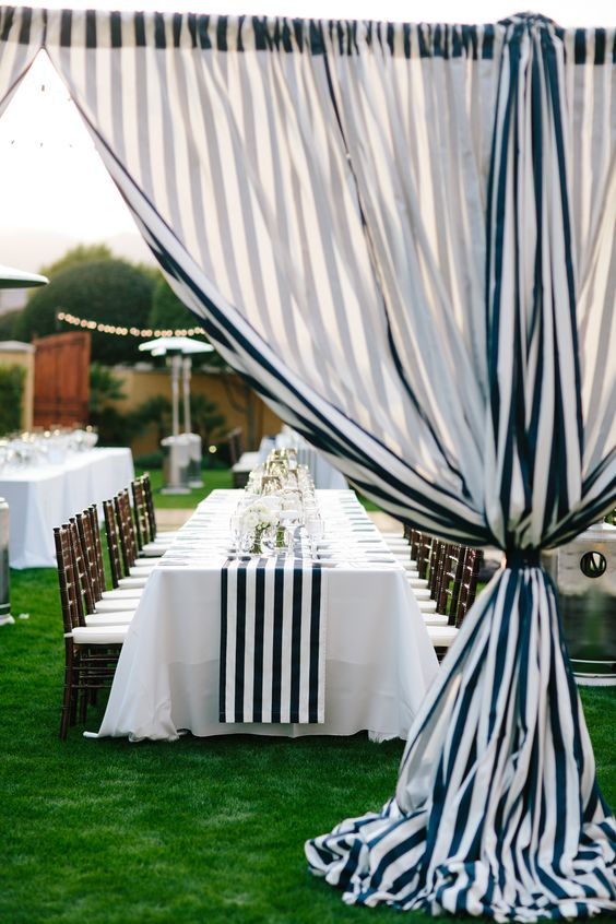 Striped decor | Read More: http://www.stylemepretty.com/little-black-book-blog/2014/06/25/modern-elegant-wedding-at-miramonte-resort-spa/ | Photography: Heather Kincaid - heatherkincaid.com: