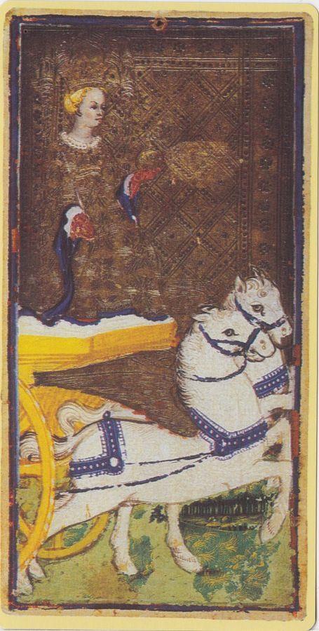 The Chariot -- Pierpont Morgan Visconti Sforza Tarocchi Deck, Italy, Milan, ca. 1450:
