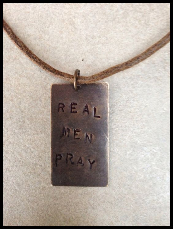 """Men's Tan Cord Necklace with Hand Stamped Brass Tag """"REAL MEN PRAY"""" by Stones on String, $26.00"""