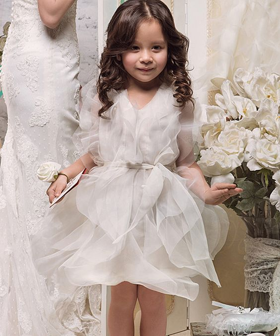 Look at this Ivory Tulle Tie-Waist Dress - Toddler & Girls on #zulily today!