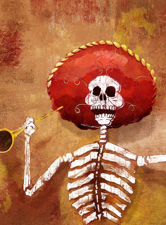 Dia de los Muertos Calavera Mariachi - 18x24 art poster print by BoxingBear on Etsy https://www.etsy.com/listing/231436275/dia-de-los-muertos-calavera-mariachi
