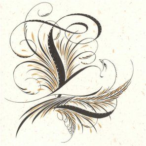 Calligraphy L With Flourish And Bird Event Monograms