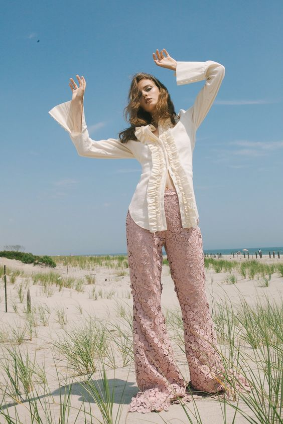 lucy's magazine kelsey randall bespoke made-to-measure womenswear custom made in new york city brooklyn nyc bushwick handcrafted ethical sustainable unique special  cream flannel muslin cotton ruffle front button pink lace pant emerging designer new talent ones to watch models best of american fashion rising star talent  Photographer: Katie Borrazzo @katieborrazzo  Stylist: Chime Dolker @dolkerchime HMUA: Mia Varrone @miavarrone Model: Clara McNair @ Supreme Management NY @claramcnair