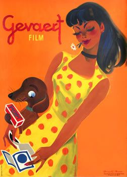 Brun, Donald poster: Gevaert Film (girl w/ dog)  int'l poster gallery, boston: