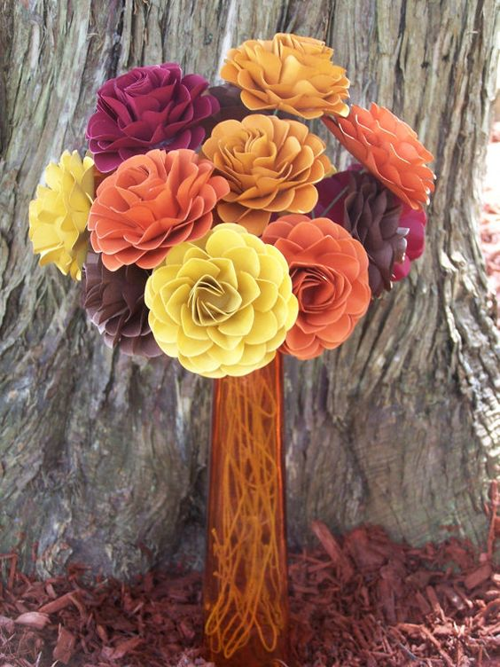 Set of 15 Handmade Paper Fall Flowers with stems by SoManyPetals, $41.25