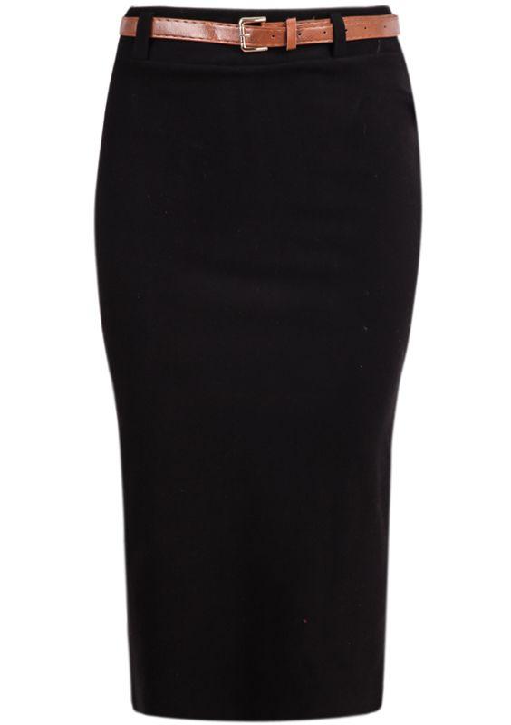 Falda de lana simple-negro 16.29