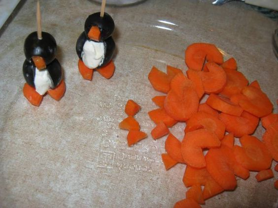 :) Penguin Appetizers - Black Olives, Carrots, Cream Cheese