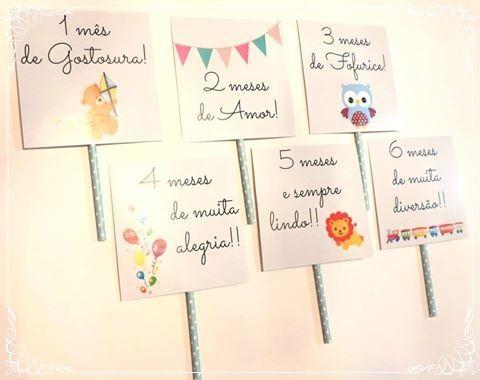 Plaquinhas para registrar cada mês do bebê! Kit 12 plaquinhas R$ 32,00 | #mesversario #danielatruvilhanofestas