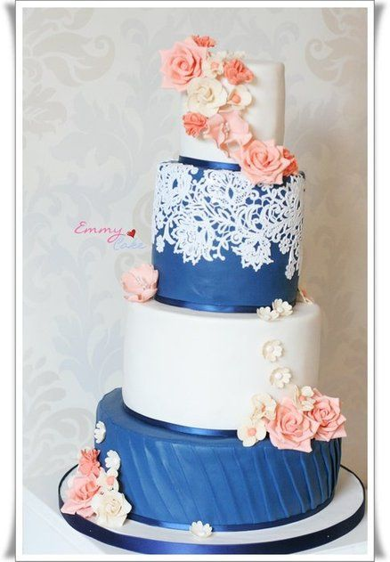 navy, ivory and coral wedding cake