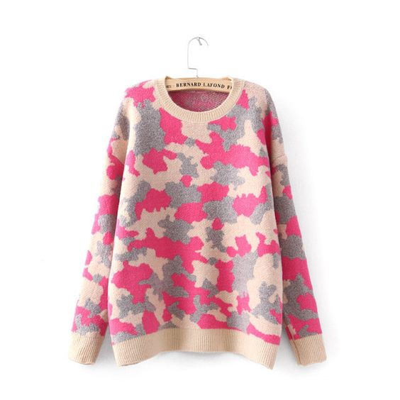 Camouflage Loose Knit Sweater