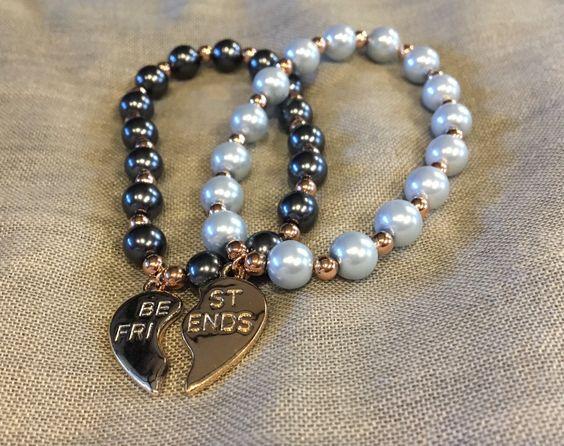 Best friend bracelet, bead bracelet, best friends forever, bead bracelet, rose gold, BFF, best friends charm by Starboxjewellery on Etsy