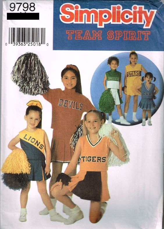 9798 Sewing Pattern Costume Girls Cheerleader 8 10 12