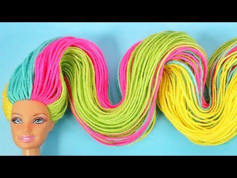 Uzun Renkli Sac Ve Muhtesem Kiyafet Fikri Diy Kendin Yap Barbie Donusumu Tasarim Barbie Sac Yapimi Youtube In 2020 Barbie