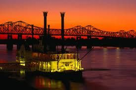 Natchez at night along the bluffs of the Mississippi River.