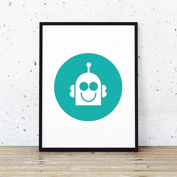 """You've got to love a happy robot! This is a new doodlelove art print to bring a splash of colour and bags of fun to any wall #doodlelove #color #kids…"""