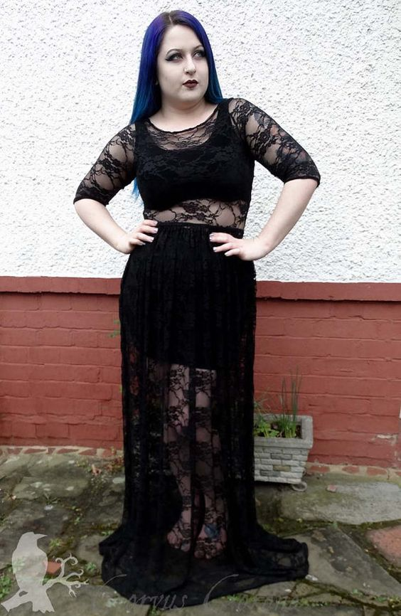 Gothic lace maxi dress