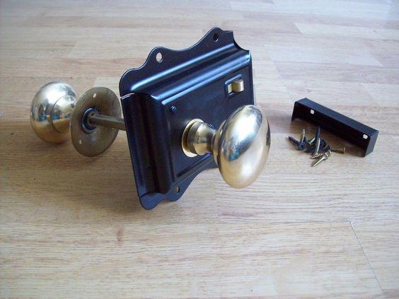 Old Victorian Solid Brass Black Door Rim Lock Knob Set • EUR 29,07 - PicClick ES