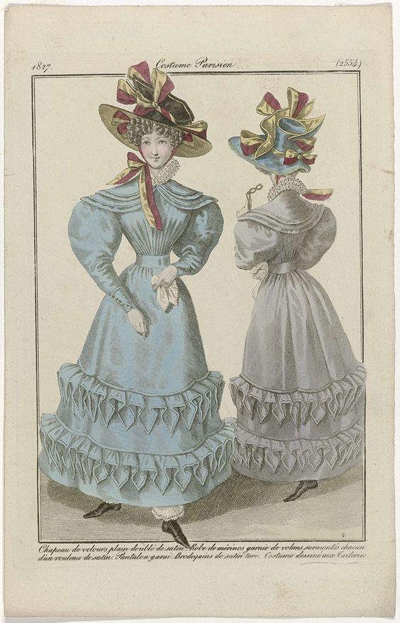 Anonymous | Journal des Dames et des Modes: Ladies' Fashion, Anonymous, Pierre de la Mésangère, 1827 | Staande vrouw gekleed in een japon van merinowol versierd met geplooide stroken stof waarboven een 'rouleaux' van satijn. Hieronder een lange broek (bloomers?). Op het hoofd een fluwelen hoed gevoerd met satijn. Laarzen van 'satin turc'. Verdere accessoires: handschoenen, zakdoek, lorgnet. Figuur in eenzelfde japon, op de rug gezien. Volgens het onderschrift is dit kostuum getekend in de…