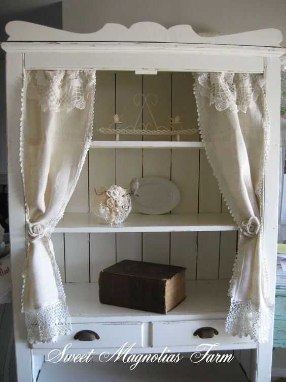 Curtains Ideas cream burlap curtains : From a pine cabinet to cream with these adorable burlap curtains ...