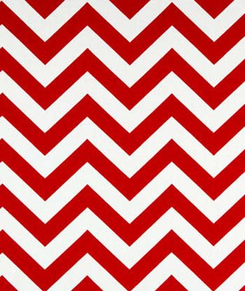 "A bold and modern white and bright red chevron fabric with 1"" zigzag stripes. This 7 oz. cotton duck fabric is great for home decor and crafts. Think tote bags, placemats, pillows and much more. Zigzags add a fantastic modern touch to your decor.<br>"