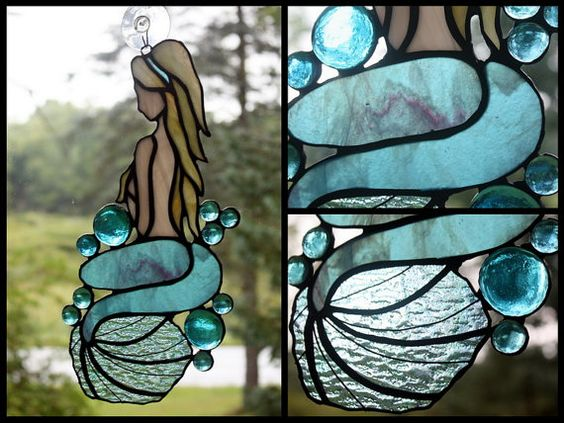 Stained Glass Mermaid Freeform Panel by BerlinGlass on Etsy #stained_glass #mermaid