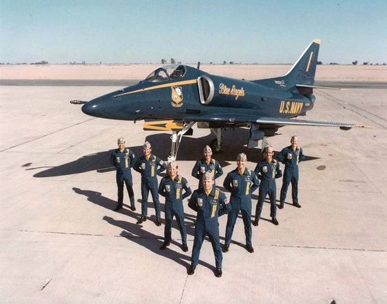 The first Blue Angels A4 Skyhawk team - 1973