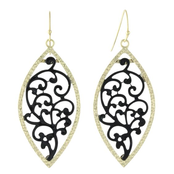 Heirloom Finds - Black Lace Dangle Earrings, $10.00 (http://www.heirloomfinds.com/gold-marquis-black-enamel-filigree-dangle-earrings/) #heirloomfindsjewelry  #beautiful