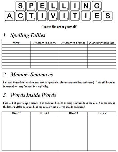 Spelling Spelling Activities And Activities On Pinterest