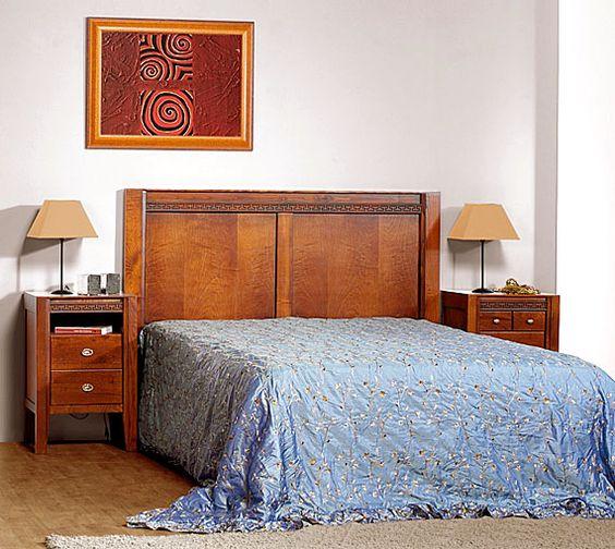 Cabecero y mesillas en madera de casta o http www - Cabeceros coloniales ...