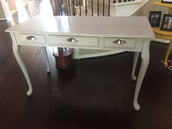Woodlawn colonial gray chalk paint from Valspar. Distressed. Light antique glaze on top.