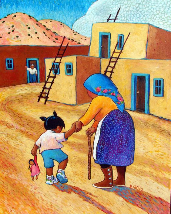 Grandma's Treasures. $25.00, via Etsy.: Bartos Artist, Art Naive Folk, Art Naïf, Bartos New Mexico, Art Naif, Photo Inspiration, Mexico Artist, Art Imaginative, Artist Sally Bartos
