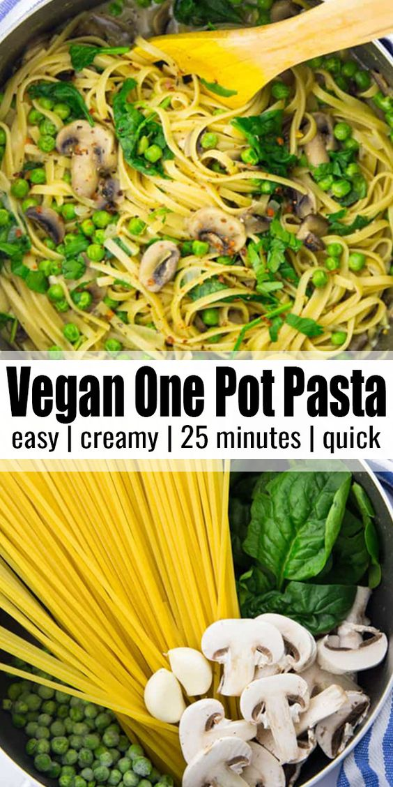 Vegan One Pot Pasta with Mushrooms and Spinach