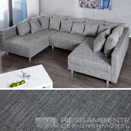Design Sofa LOFT XXL Strukturstoff grau viel Platz modernes Design
