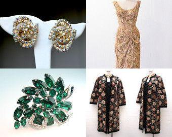 #Vintage Eisenberg emerald green rhinestone brooch in our @Etsy shop #teamlove #jewelry #ecofashion