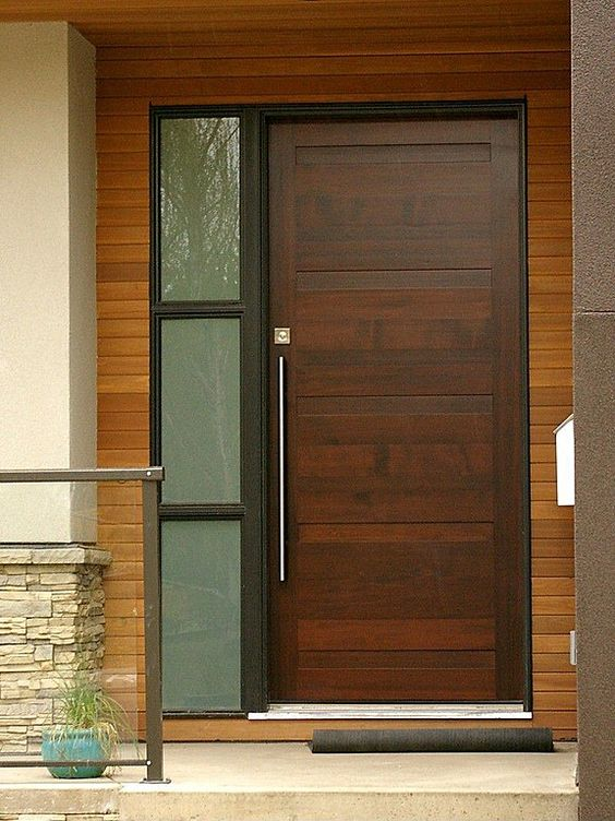 Contemporary front doors front doors and doors on pinterest for Wood window door design