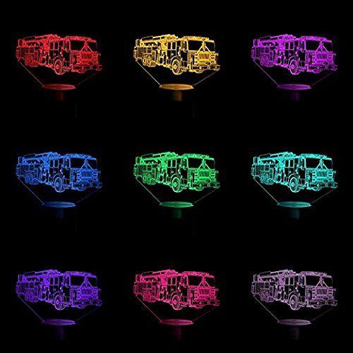 Tolle 3d Deko Lampe Feuerwehr Auto Fur Das Kinderzimmer Feuerwehr Nachtlicht Erzeugt Eine Coole Illusion Und Sorgt Fur Eine Angen Led Lampe Farbwechsel Lampen