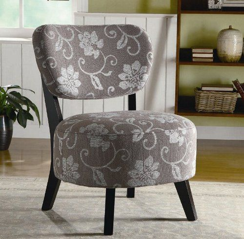 Cheap Accent Chair With Grey And White Floral Pattern In Dark
