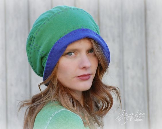 Slouchy Beanie Hat in Green and Purple by GreenTrunkDesigns Materials: recycled t shirts, jersey knit, fabric, thread