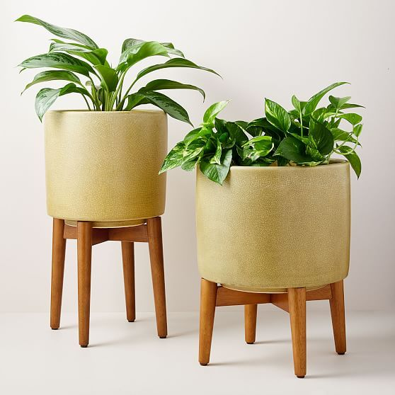 Mid Century Turned Leg Standing Planters Crackle Planter Stand Planters Indoor Plant Pots