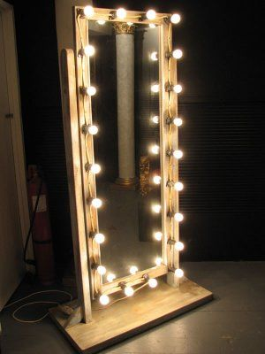 Makeup mirror with lights floor standing circus props for Long stand up mirror